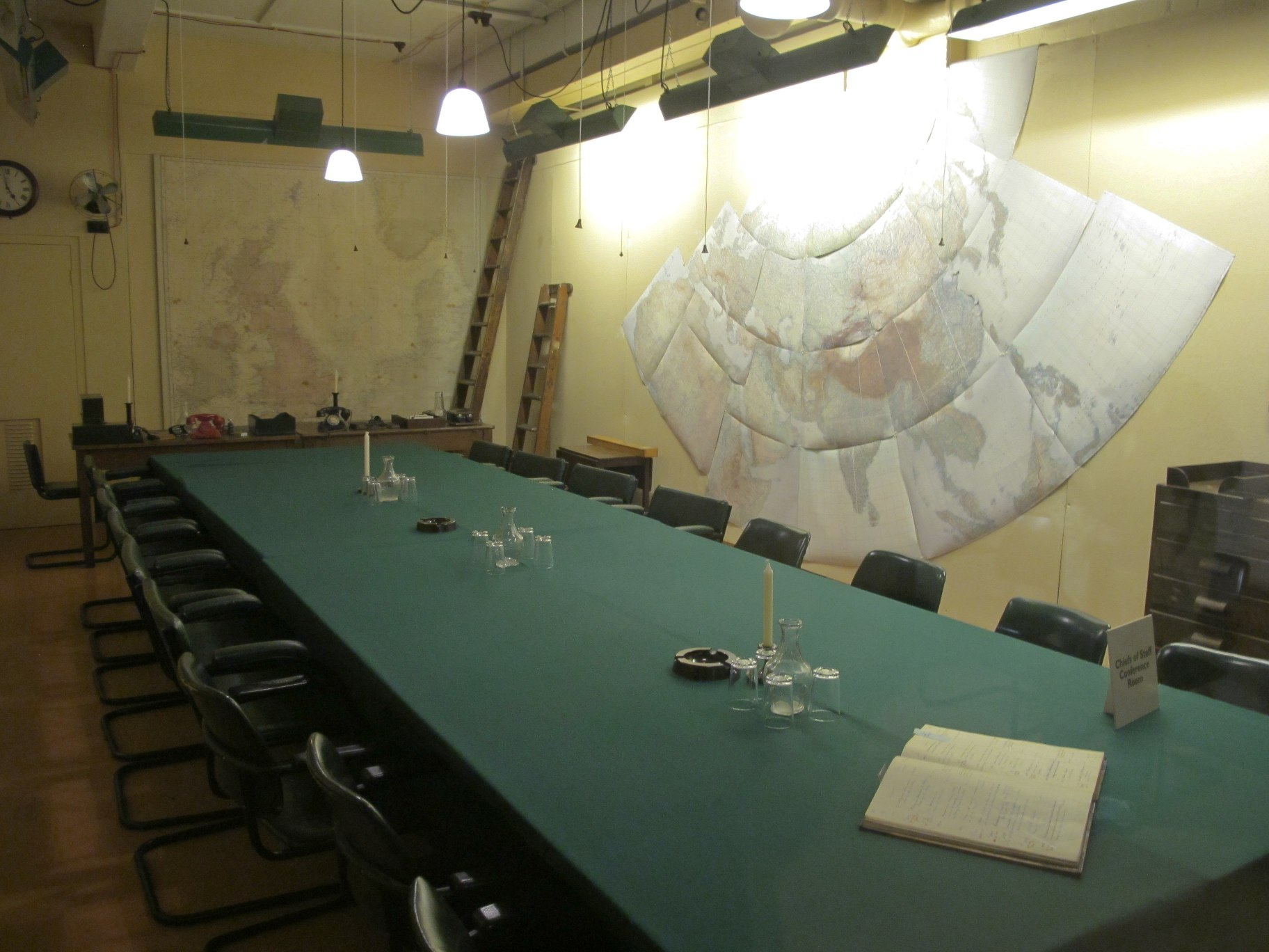 The Map Room was in constant use and manned around the clock by officers of the Royal Navy, British Army and Royal Air Force.