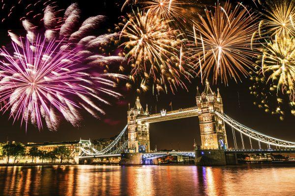 New Year's Eve Fireworks, London, Tower Bridge